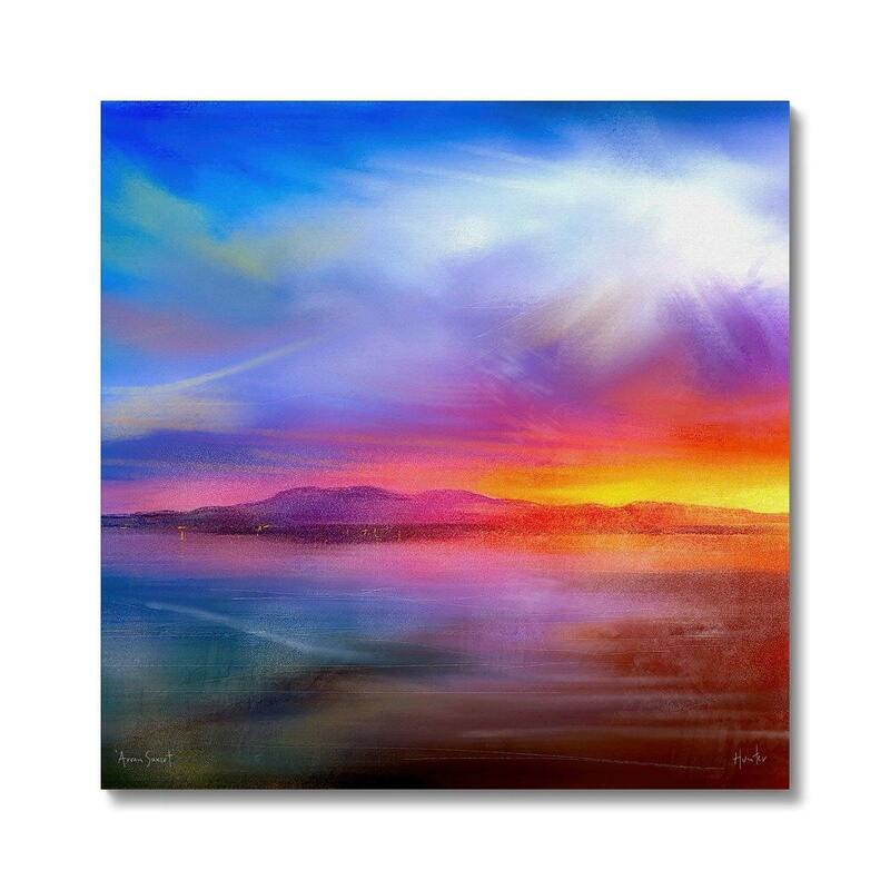 Paintings And Prints Of Arran Sunset Scotland By Scottish Atmospheric Landscape Artist Kevin Hunter